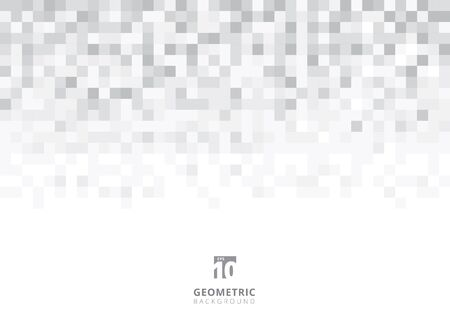 Abstract squares geometric gray and white background with copy space. Pixel, Grid, Mosaic. Vector illustration