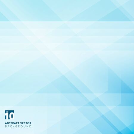 Abstract geometric overlay on blue background with diagonal stripes. Technology and dynamic motion. For ad, print, brochure, flyer, poster, magazine, booklet, leaflet. Vector illustration