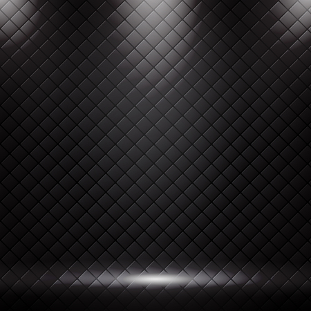 Studio luxury sofa background and texture with spotlight. Black square pattern with lighting. vector illustration Illustration