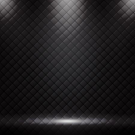 Studio luxury sofa background and texture with spotlight. Black square pattern with lighting. vector illustration Illusztráció