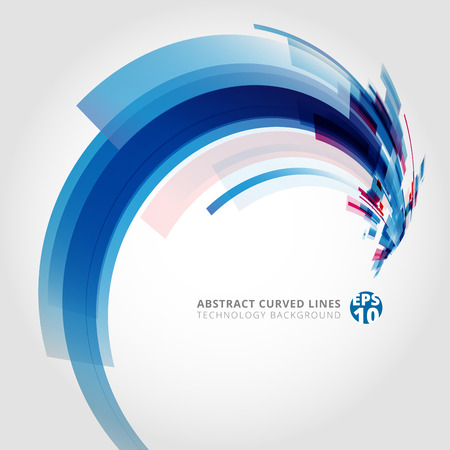 Abstract vector background element in blue and pink colors curve swirl perspective. Vector illustration