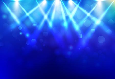 Projecteurs d'éclairage scène disco party avec bokeh estompée sur fond bleu foncé. Illustration vectorielle Banque d'images - 95437917