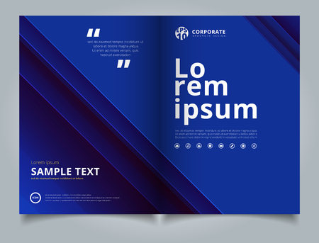 Brochure Template technology striped overlapping diagonal lines pattern blue color tone background and simple text. Business book cover design.