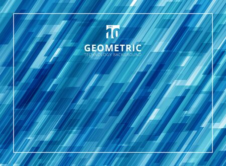 Abstract technology diagonally overlapped geometric squares shape blue color background. Vector graphic illustration