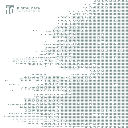 Abstract technology digital data square gray pattern pixel background. Vector graphic illustration Çizim