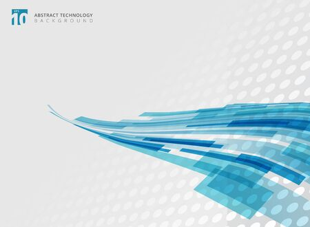 Abstract technology curve overlapped geometric squares shape blue colour perspective with halftone background with copy space. Vector graphic illustration