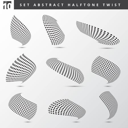 Set of abstract black color dots pattern in halftone twisted shapes on light grey background.