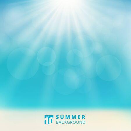 Summer season seascape with sky sunlight bokeh on the beach blurred background. Vector illustration