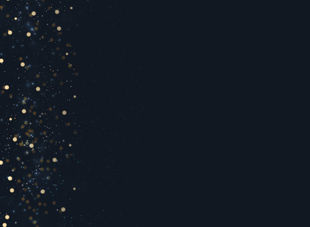 Abstract Navy Blue Blurred Background With Bokeh And Gold Glitter