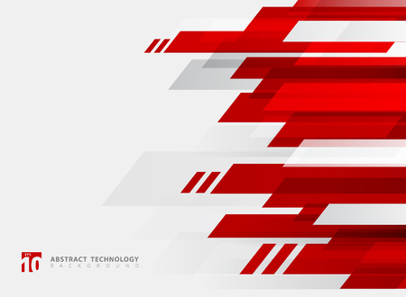Abstract technology geometric red color shiny motion background. Template with header and footer for brochure, print, ad, magazine, poster, website, magazine, leaflet, annual report.
