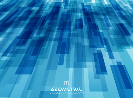 Abstract technology diagonally overlapped geometric squares shape perspective blue color background vector graphic illustration. Ilustração