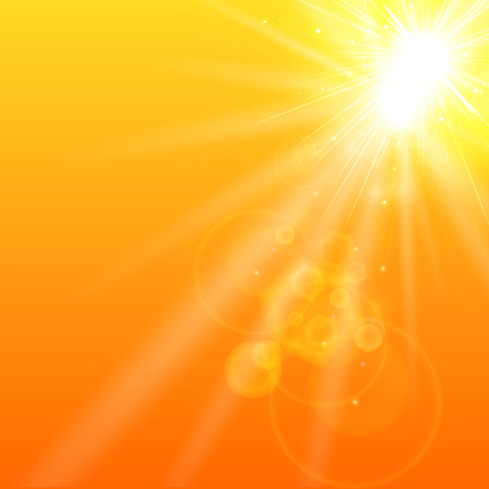 Summer orange background with sunlight. Vector illustration