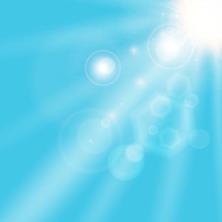 summer sunlight shining on blue sky background. Vector illustration
