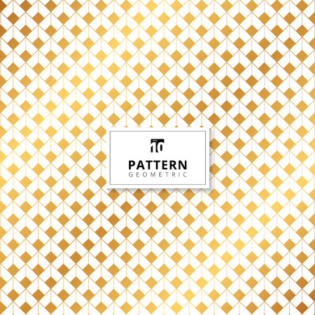 Abstract gold squares dimension pattern on white background. Vector illustration
