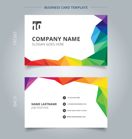 Business name card template design abstract colorful low polygon style on white background. Vector illustration Stock Illustratie