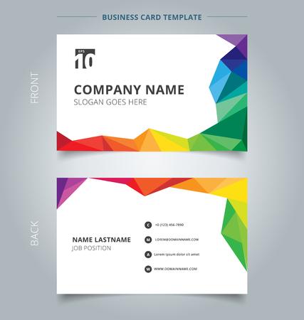 Zakelijke naam kaartsjabloon ontwerp abstracte kleurrijke lage veelhoekstijl op witte achtergrond. Vector illustratie Vector Illustratie