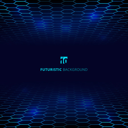 Abstract technology blue wire network futuristic wireframe data visualisation with lighting effect. Big data connection background. Hexagons pattern. Vector illustration