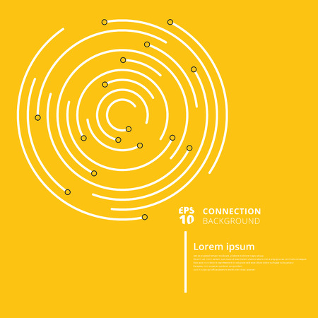 Abstract network connection circles lines and node on yellow background. Digital geometric data element. Vector Illustration Vector Illustration