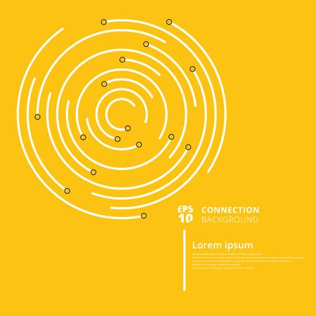 La connexion réseau abstraite entoure les lignes et le nœud sur fond jaune. Élément de données géométriques numériques. Illustration vectorielle Vecteurs