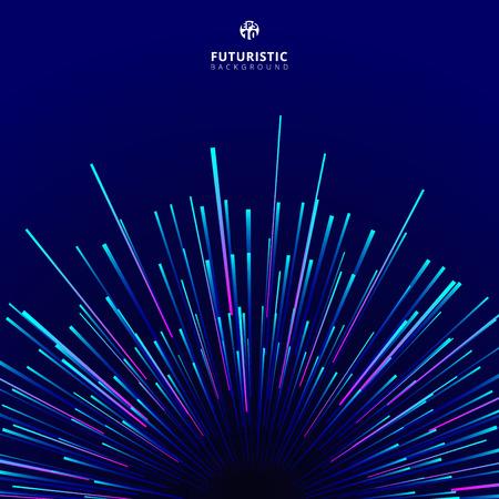 Patrón de movimiento centrado geométrico circular geométrico abstracto tecnología futurista. Rayo de líneas dinámicas radiales de colores sobre fondo oscuro. Ilustración vectorial