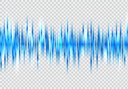 Abstrakte blaue Schallwellenmusterelemente mit dem Glühen auf transparentem Hintergrund. Technologie digitaler Equalizer. Vektor-Illustration