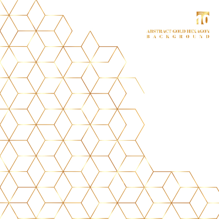 Gold hexagons border pattern on white background. Geometric shapes golden color elements template for brochure, flyer, card, cover and wedding invitation, poster, banner, print, ad Illustration
