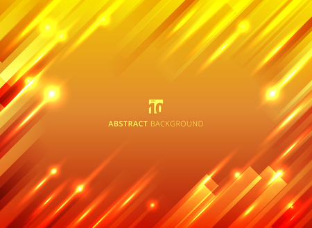 Abstract geometric motion with lighting glow sparkle on yellow and red background. Vector illustration