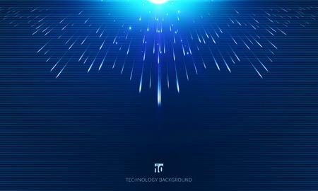 Meteor lines perspective composed with light burst on dark background. Vector illustration Illustration