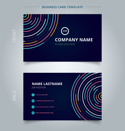 Name card template abstract colorful lines bright circles pattern on dark background technology concept. Vector illustration