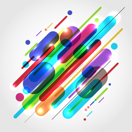 Abstract motion dynamic composition made of various colored rounded shapes lines in diagonal rhythm minimal style. Vector illustration Illusztráció