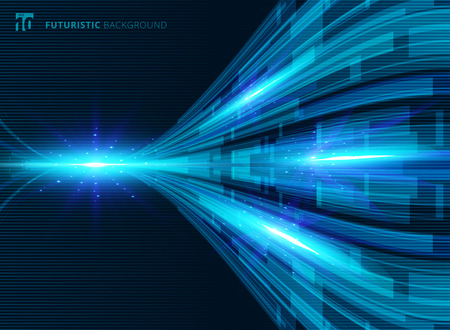 Abstract blue virtual technology concept futuristic digital perspective background with space for your text. Vector illustration