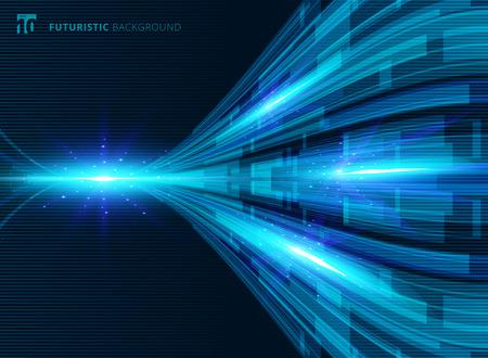 Fondo futuristico di prospettiva digitale di concetto di tecnologia virtuale blu astratto con spazio per il vostro testo. Illustrazione vettoriale Vettoriali