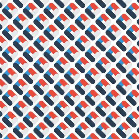 Abstract geometric rounded pattern overlapping color on white background. Vector illustration