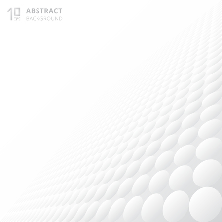 Abstract 3d circles pattern texture repeating gradient white and gray perspective background with copy space. Vector illustration