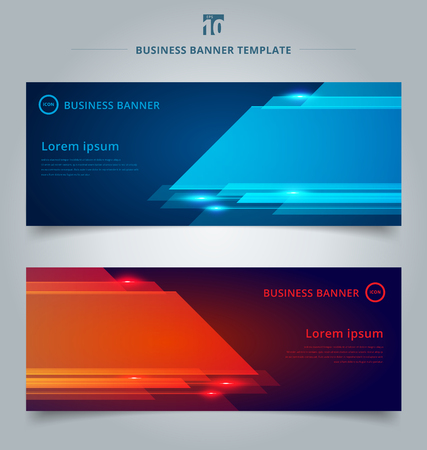 Set of abstract template technology web banner geometric red and blue color shiny motion background with lighting effect. Vector corporate design Ilustração