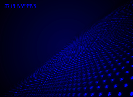 Abstract technology futuristic data visualization particle dynamic blue dots pattern on darkness background and texture with copy space. Vector illustration Ilustração