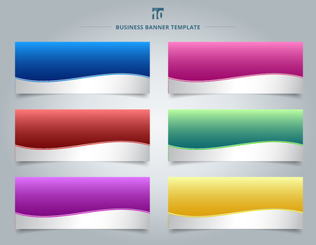 Set of templates business banner web design abstract stripe wave lines graphic blue, red, yellow, purple, pink, green gradient color background. Vector illustration Ilustração