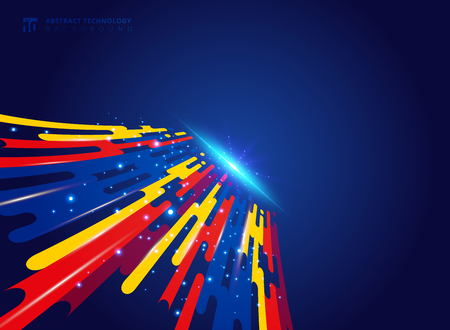 Abstract colorful geometric rounded lines halftone transition perspective motion on blue background with explosive light technology concept. Vector illustration