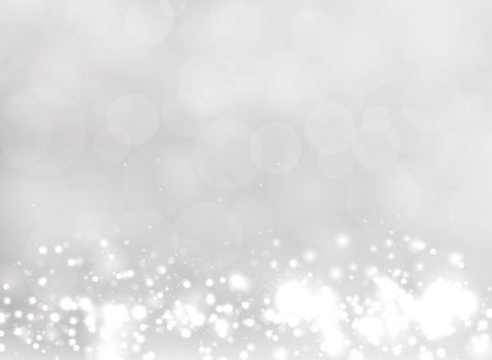 Abstract white and gray blurred light background with bokeh and glitter effect. Vector illustration Ilustração