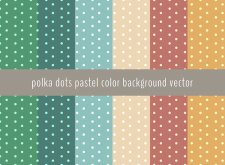 Set of polka dots pattern on pastels green, yellow, blue and brown color background. Vector illustration