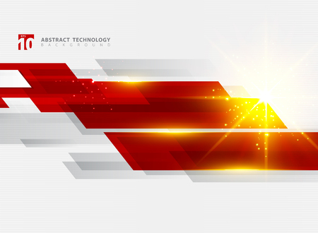 Abstract technology geometric red color shiny motion background with lighting effect. Template with header and footer for brochure, print, ad, magazine, poster, website, magazine, leaflet, annual report. Vector corporate design Ilustração