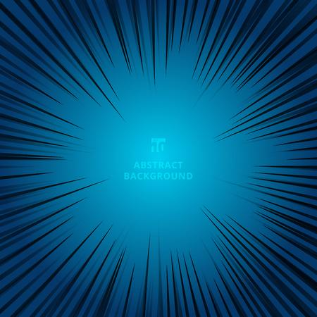 linee radiali nere per fumetti su sfondo blu scuro. Telaio velocità manga. Illustrazione vettoriale Vettoriali