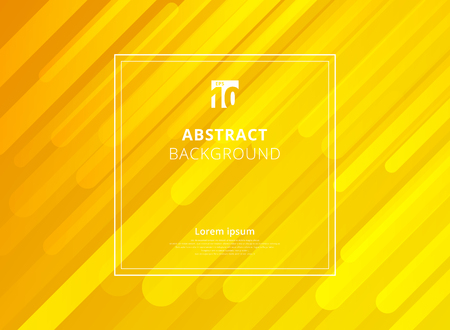 Abstract yellow geometric dynamic shapes background with white frame space for text. Vector illustration