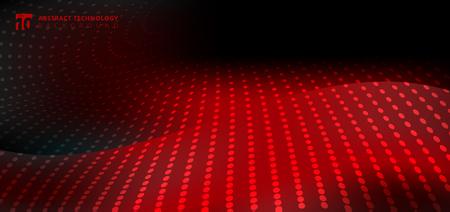 Abstract furturistic technology radial dots pattern on smooth fantasy motion blurred wave red light trail on black background. Vector illustration Ilustração