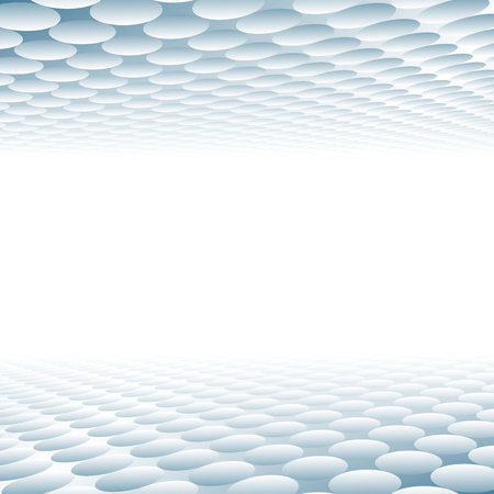 Abstract 3D grid circle pattern texture blue and white perspective background. Vector illustration Ilustração