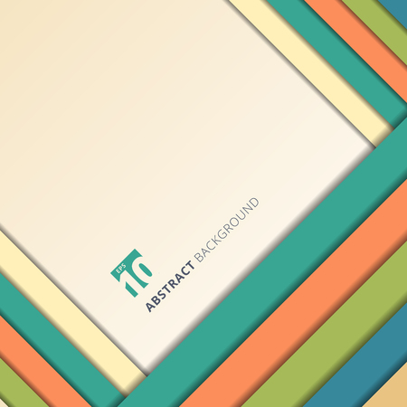 Template abstract geometric colorful rectangles overlapping layer with shadow on white background. Vector illustration Ilustração
