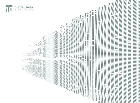 Abstract technology digital data square gray pattern pixel prespective background with copy space. Vector graphic illustration