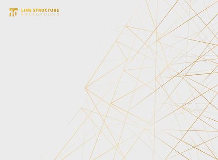 Estructura de líneas abstractas superpuestas doradas sobre fondo blanco. Ilustración vectorial