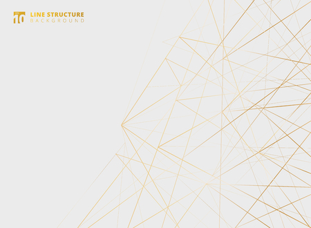 Struttura astratta di linee d'oro sovrapposte su sfondo bianco. Illustrazione vettoriale