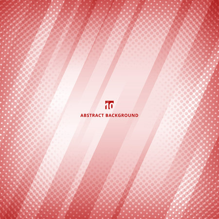 Abstract red and white color geometric technology with halftone background and texture. Vector illustration